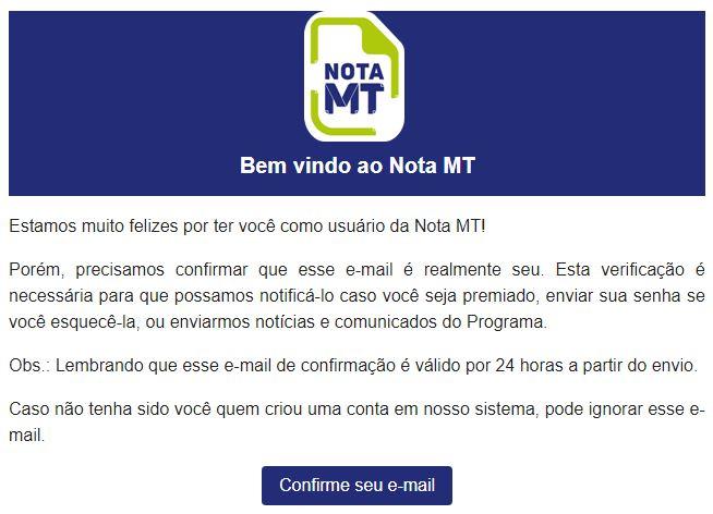 NotaMT email confirmacao - Você conhece o Programa Nota MT? Saiba como participar e concorrer até R$ 50 mil!
